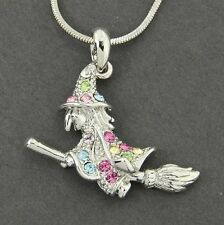 "Witch Broomstick W Swarovski Crystal Multi Color Halloween Pendant 18"" Chain"