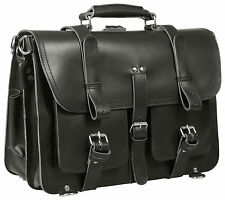 "VINTAGE THICK RUGGED BLACK LEATHER LAPTOP MESSENGER 17"" SADDLE BACKPACK SATCHEL"