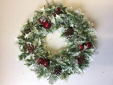 Large Christmas Snow Wreath Holly Fruits Home Decoration Grave Tribute Flowers