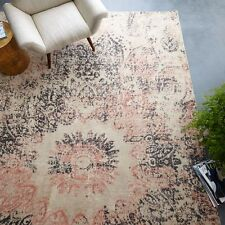 """NEW West Elm Distressed Ornament 8"""" x 10"""" Wool Rug~Rosette~Pottery Barn"""