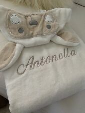 "Pottery Barn Baby Nursery Critter Wrap Cream Lamb Towel Embroidered ""Antonella"""