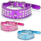 Small Puppy Pet Dog  Cat PU Leather Necklace Bling Crystal Adjustable Collar