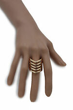 New Women Ring Fashion Jewelry Gold Metal Chevron Stripes Finger Elastic Band