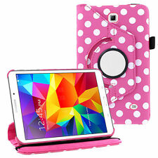 "360 Leather Case Pink Polka Dot For Samsung Galaxy Tab 3 7 / E Lite 7"" T110 T113"