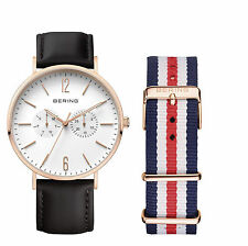 Mens Bering Black Leather Band SET Sapphire Slim Case Day Date Watch 14240-464