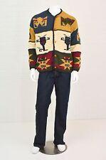 Men's XL Rey Wear 100% Wool Ethnic Bolivian God Knit Heavy Sweater Cardigan