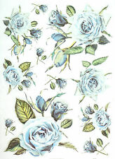 Rice Paper for Decoupage Decopatch Scrapbook Craft Sheet Vintage Blue Roses