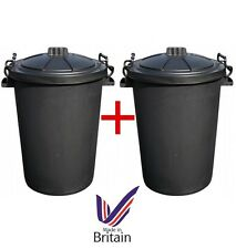 2 x Large 80/85L Litre Black Plastic Bin Rubbish Dustbin Animal Feed Storage UK