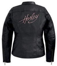 Harley Davidson Women's PINK LABEL Embellished Black Leather Jacket 98022-12VW L