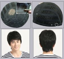 Natural Black human hair hand tied MONO TOP toupee mens glueless wig wigs topper