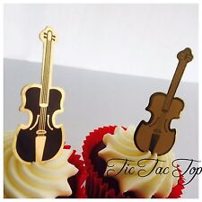 12x Violin Card CUPCAKE TOPPER Party Food Pick Musical Instrument Double Bass