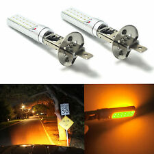 2x H1 Yellow/Amber Fog Light DRL COB Daytime Running Lamps COB LED Lights Bulbs