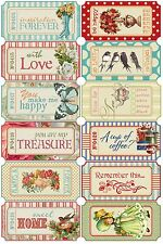 Chic Ticket Style Sentiments  ~ Card Making Toppers / Scrapbooking