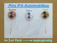 IFA Pin Automobilbau DDR  / 3er-Pack / Gold + Silber + Bronze / original