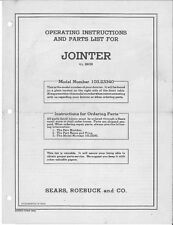 "1950 Craftsman 103.23340  4-3/8"" Jointer (Form 29939) Instructions"