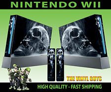 NINTENDO WII STICKER SMOKEY SKULL DARK ART GOTHIC BONE GRAPHIC SKIN & 2 PAD SKIN