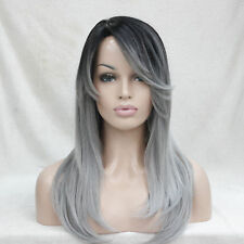 Ombre Black Root With Grey Mix High-Quality Heat Ok Long Straight Skin Top Wig