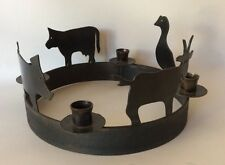 Country Animals Iron Candle Holder Round Goat Pig Cow Duck Cabin Farm