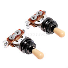 2 Pcs 3 Way Guitar Selector Pickup Toggle Switch Cream Knobs For Les Paul Parts