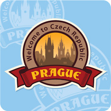 "Prague Czech Republic Welcome City Travel Car Bumper Sticker Decal 5"" x 5"""