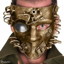 Steampunk Gear Mask Masquerade Halloween Costume Eye Face Gears Goggles Gold
