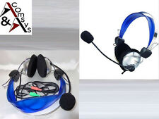 Stereo Headset Mic PC Notebook VOIP SKYPE MSN CHAT MULTIPLAYER Kopfhörer Blau