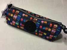 NEW KIPLING FREEDOM BLACK COLORFUL MAKEUP PENCIL BAG PURSE CASE MONKEY KEYCHAIN