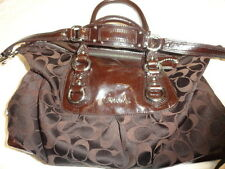 COACH BLACK GREY SIGNATURE CHOCOLATE SATCHEL TOTE F15443