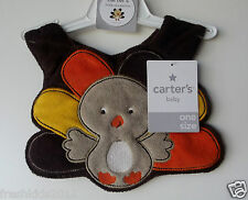 "Carter's Baby Terry Thanksgiving Bib ""Turkey"" One Size NWT"