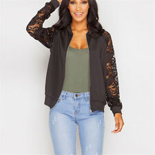 Fashion Womens Crochet Lace Bomber Jacket Long Sleeve Zipper Cardigan CoatS Tops