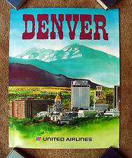 Vintage Original 1970s UNITED AIRLINE DENVER Travel Poster railway art Colorado