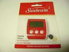 Sunbeam Red White Digital Kitchen Timer  Magnetic Back with Battery NEW