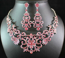 GORGEOUS PINK AUSTRIAN RHINESTONE CRYSTAL BIB NECKLACE EARRINGS SET BRIDAL N1515