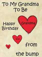 Grandma to be from bump Happy Birthday A5 Personalised  Greeting Card pidb1a1