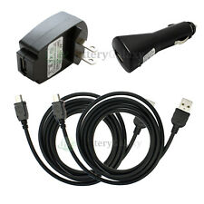 2 USB Cable+Car+Wall Charger for Garmin Nuvi 255 270 255W 760 1350 1390T 1490T