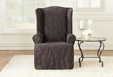 Sure Fit espresso brown  matelasse Damask wing back chair slip cover slipcover