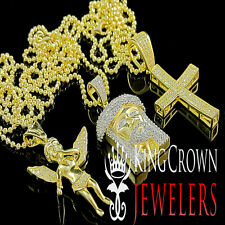 925 Silver 14k Yellow Gold Finish Baby Angel Jesus Head And Cross Chain Combo