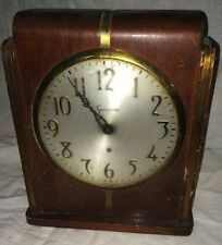 VTG ART DECO 1920' SESSIONS WOODEN CASE ELECTRIC CLOCK COPPER BANDS