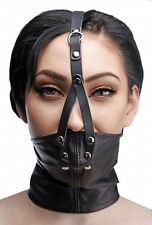 LEATHER NECK CORSET HARNESS STUFFER MOUTH GAG muzzle costume face cover mask