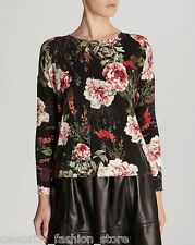 Karen Millen Black Floral Rose Oversize Knit Essential Sweater Jumper Top 12 40