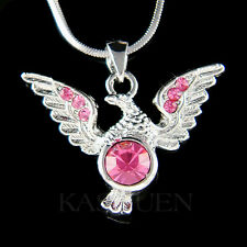 w Swarovski Crystal Pink EAGLE American Bird Hawk Freedom pendant charm Necklace