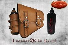 La Rosa Harley Softail/Rigid Frame Leather Saddle Bag Swingarm-Tan w/Fuel Bottle