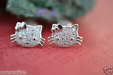 Hello Kitty Sterling Silver Stud Earrings~ Petitie, Micro-Pave Crystals,gb, USA!