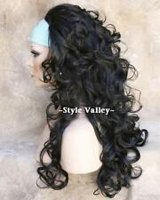 Black 3/4 Fall Hairpiece Layered Long Curly Half Wig Hair piece #1B NEW!