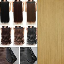 Fashion 3/4 Full Head Clip In Hair Extensions Straight Curly With 5 Clips Long A
