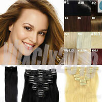 Real Remy Human Hair Clip In Hair Extensions 100% Real Full Head 7pcs 15''20''26