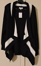 NWT Womens Size Small S Calvin Klein Black/Winter White Open Sweater Cardigan