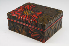 Japan KARUIZAWA-BORI Woodcarving Small Box Jewelry Box Free Ship 695k01