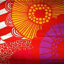 Marimekko Finland Siirtolapuutarha orange pink red pillow cover hand made 18x18""
