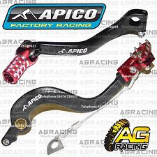Apico Black Red Rear Brake & Gear Pedal Lever For Honda CR 250 2004-2007 MotoX